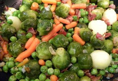 verduras con beicon